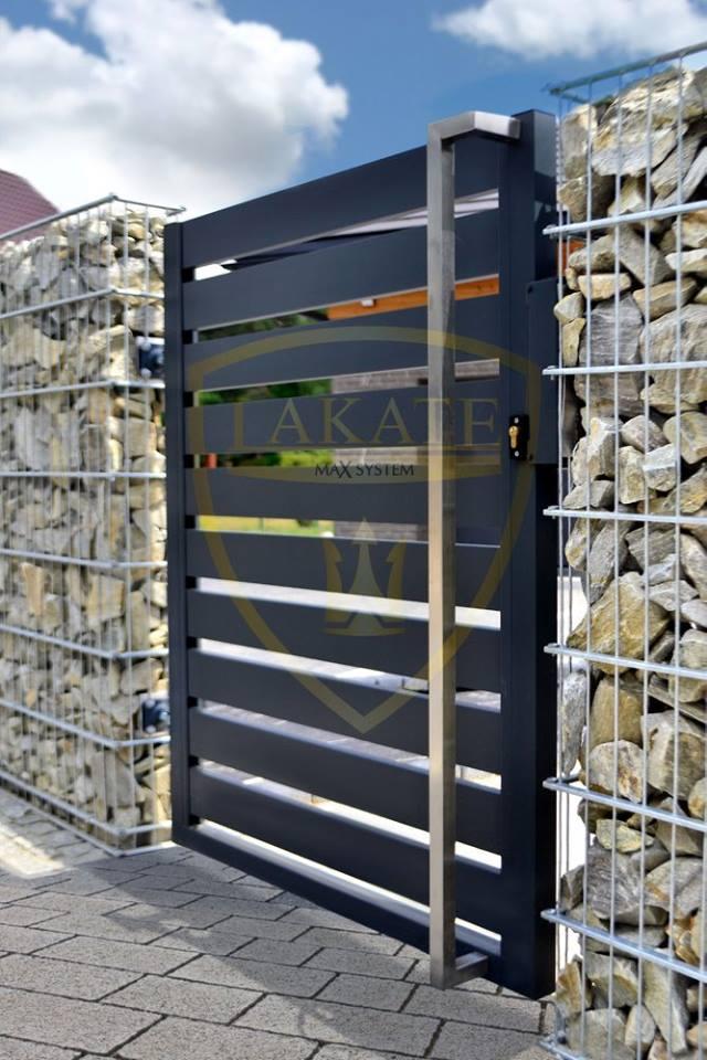 Alu Fence - furtka z ogrodzeniem Gabionowym