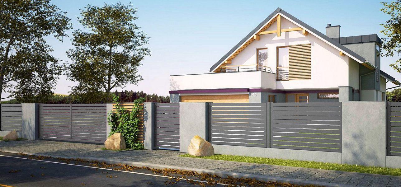 Jasno-szare ogrodzenie typu Alu Fence, z montażem na betonie architektonicznym